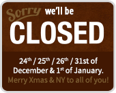 We are closed over Xzmas and NYE
